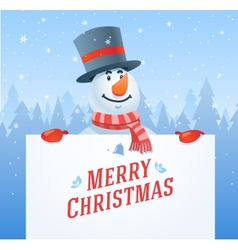 Snowman with banner christmas background vector image