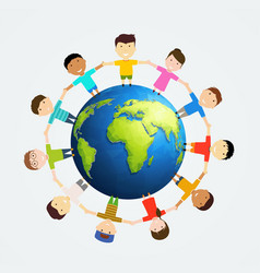 children around earth vector image