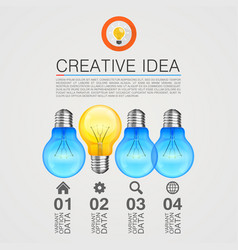 Creative idea idea lamp light white background vector