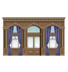 facade of wood vector image