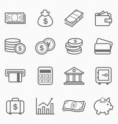 Finance and money outline stroke symbol icons vector image vector image