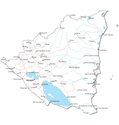 Nicaragua Black White Map vector image vector image