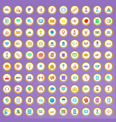 100 communication icons set in cartoon style vector image vector image