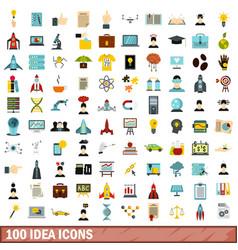 100 idea icons set flat style vector image
