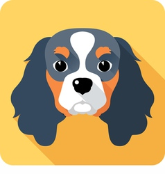 dog Cavalier King Charles Spaniel icon flat design vector image