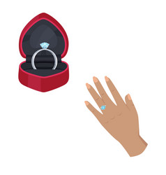 engagement ring in box and on hand vector image vector image