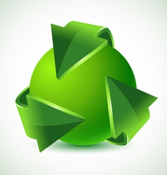 green recycling arrows and green earth vector image vector image