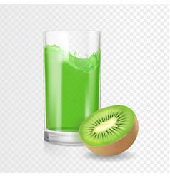 kiwi juice drink glass kiwifruit smoothies vector image