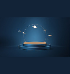 3d circle podium with halloween ornaments vector