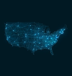 abstract telecommunication network map - usa vector image