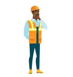 african-american builder thinking vector image