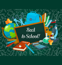 back to school chalkboard pattern poster vector image