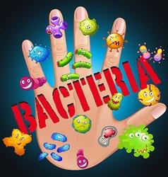 Bacteria in human hand vector image