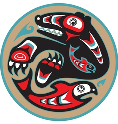 Bear catching salmon - native american style vector