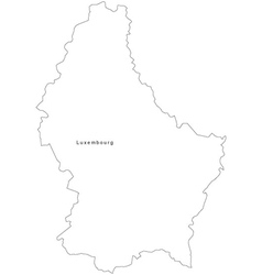 Black White Luxembourg Outline Map vector