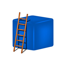 Blue cube and wooden ladder vector