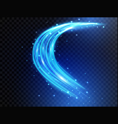 blue light curves with sparkles isolated on vector image