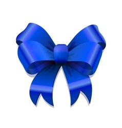 Bright blue bow-knot with shadow on white vector
