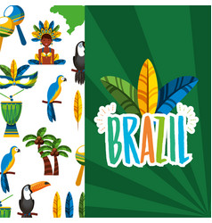 Canival rio brazilian celebration with feathers vector