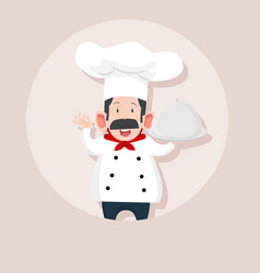 chef making ok sign with tray vector image