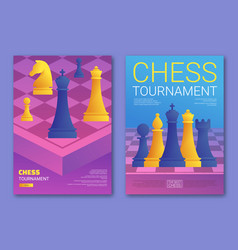 Chess tournament posters set in cartoon style vector
