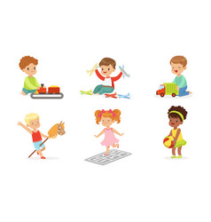 Children play with different toys set vector