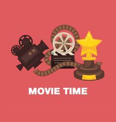 cinema promotional poster with vintage equipment vector image