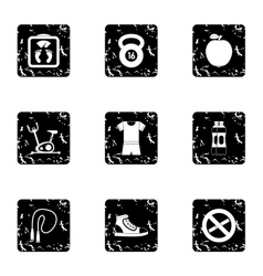 Classes in gym icons set grunge style vector
