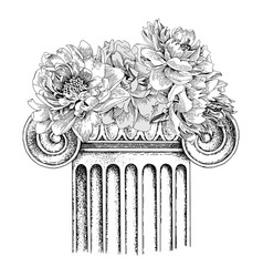 Classic antique marble column with flowers vector