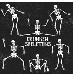 Collection of drunken skeletons in different poses vector