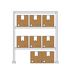 Color silhouette cartoon shelf with sealed package vector