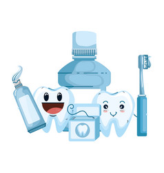 Comic teeth couple with oral hygiene equipment vector