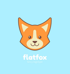 cute cartoon flat fox vector image