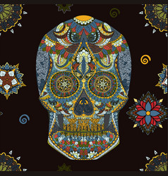 Day of the dead sugar skull seamless pattern vector