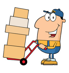 Delivery man character using a dolly to move boxes vector