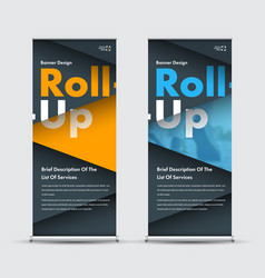 Design yellow blue and black roll-up banner with vector