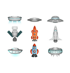 detailed collection spaceships in flat style vector image