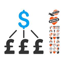 Dollar pound links pound icon with dating bonus vector