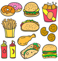 Doodle of food various set vector