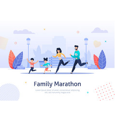 Family members running marathon together banner vector