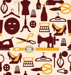 Fashion beauty and sewing items pattern vector