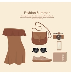 Fashion summer dress design woman with bag vector