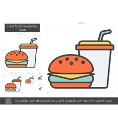 Fast food takeaway line icon vector