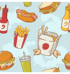 fastfood delicious hand drawn seamless pattern vector image