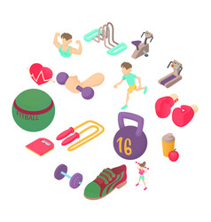 fitness icons set isometric 3d style vector image