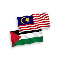 Flags palestine and malaysia on a white vector