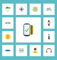 Flat icons virtual reality hoverboard earphone vector