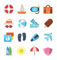 flat style pictures of summer travel symbols vector image