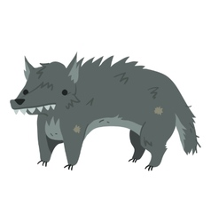 Funny cartoon wolf mascot vector
