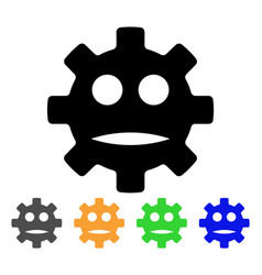 Gear sad smiley icon vector
